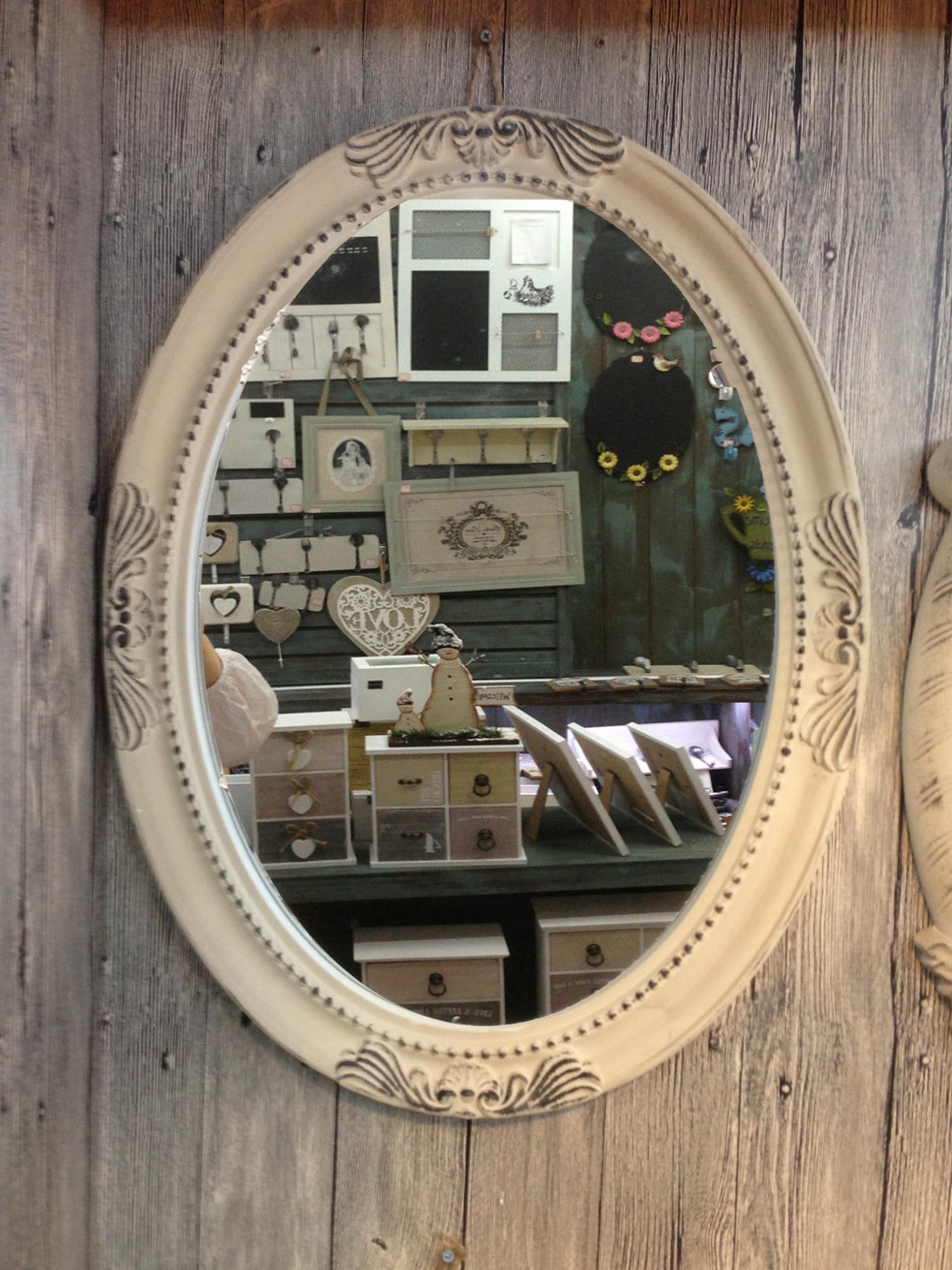 Charmanter landhaus holz 64 cm wandspiegel 18 1 spiegel antik garderobenspiegel ebay - Landhaus wandspiegel ...