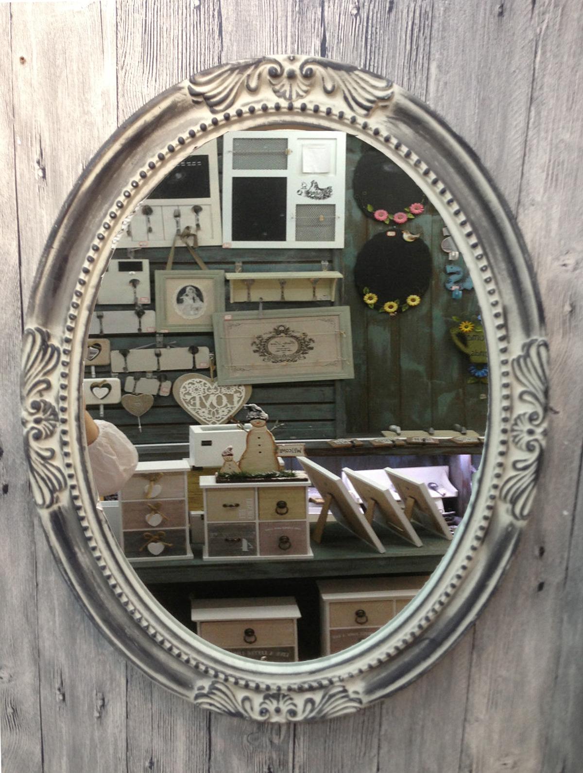 Charmanter landhaus holz 64 cm wandspiegel 18 2 spiegel antik garderobenspiegel ebay - Landhaus wandspiegel ...