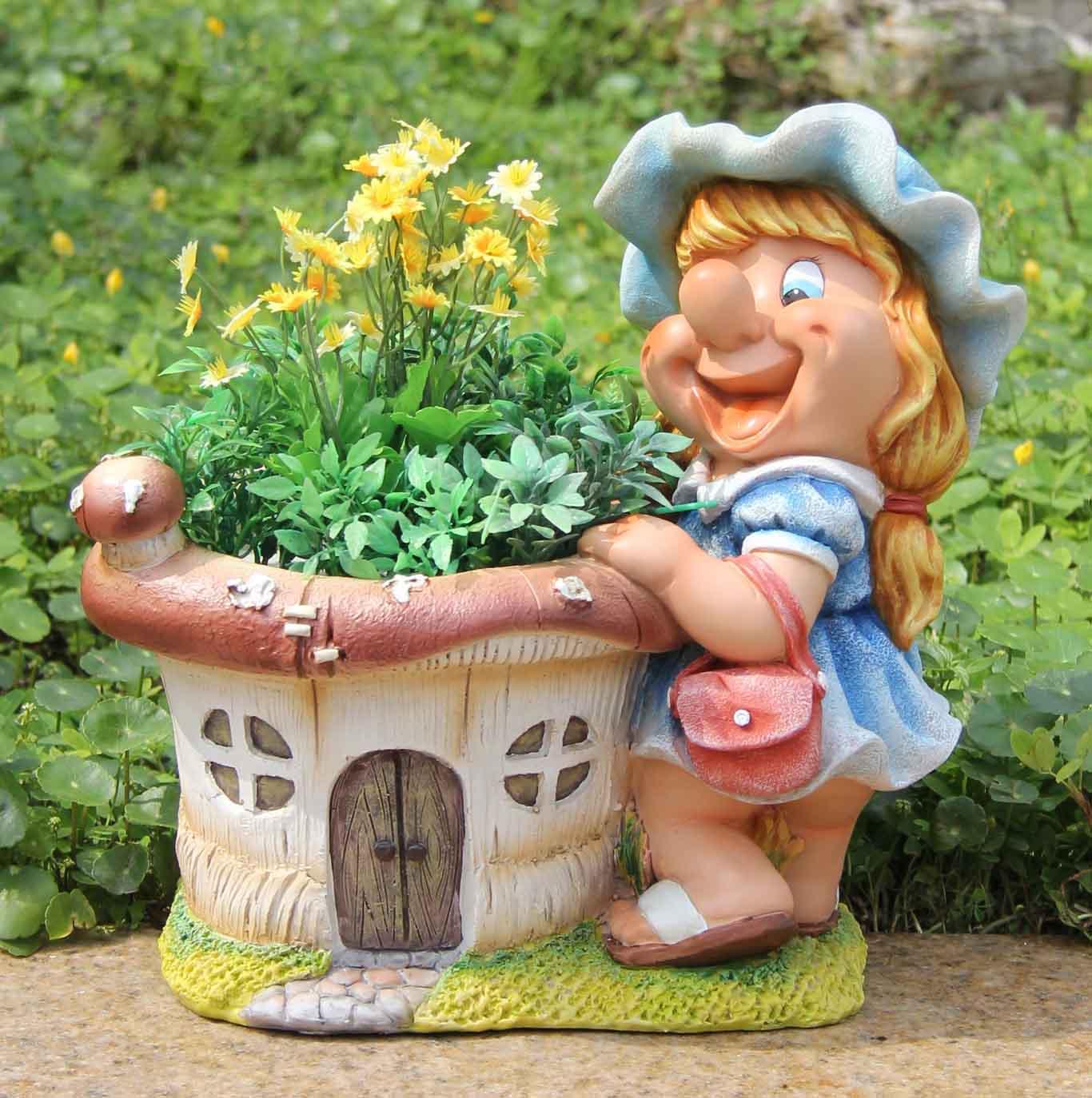 Détails sur Design Nain Fille avec Pot de Fleurs 30 cm 91026-2 Jardin  Décoration