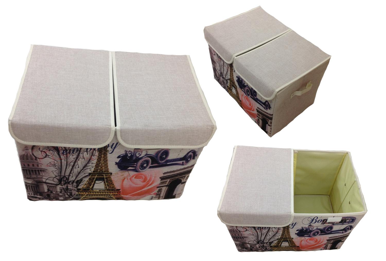 Aufbewahrungsbox mit Deckel gepolstert Paris Kiste Organizer Lein