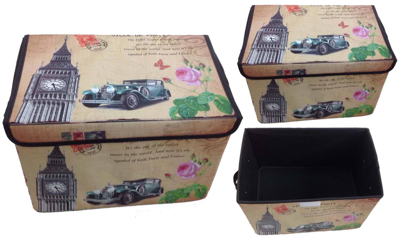 Aufbewahrungsbox mit Deckel gepolstert London Kiste Organizer 38x26x26
