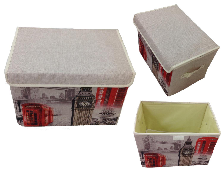 Aufbewahrungsbox mit Deckel gepolstert Paris Auto  Kiste Organizer 38x26x26 Lein
