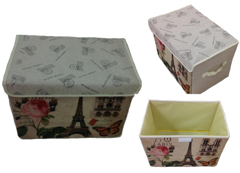 Aufbewahrungsbox mit Deckel gepolstert Paris 2  Kiste Organizer 38x26x26 Lein