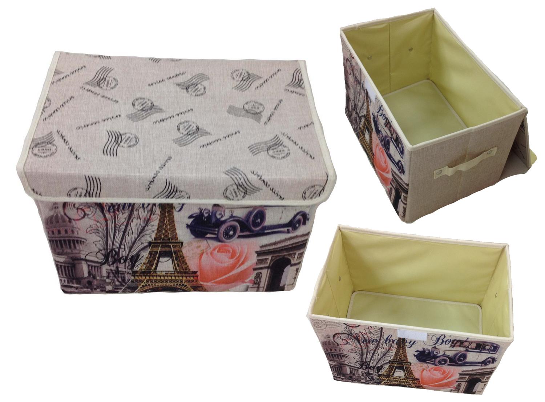 Aufbewahrungsbox mit Deckel gepolstert Paris Kiste Organizer 38x26x26 Lein