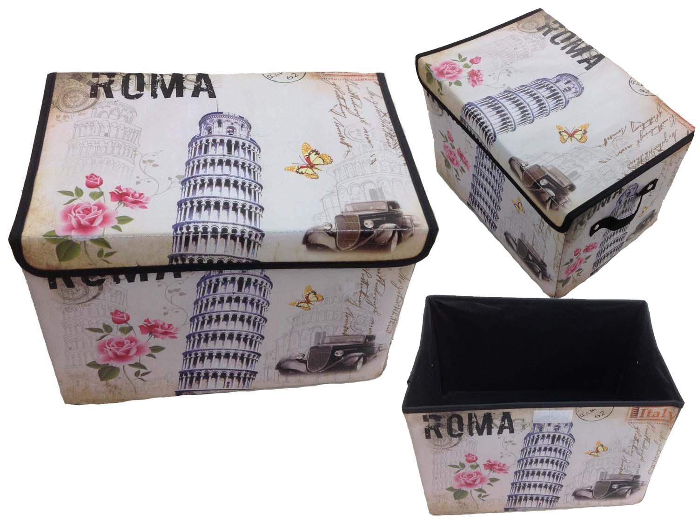 Aufbewahrungsbox mit Deckel gepolstert Roma Rom Kiste Organizer 38x26x26