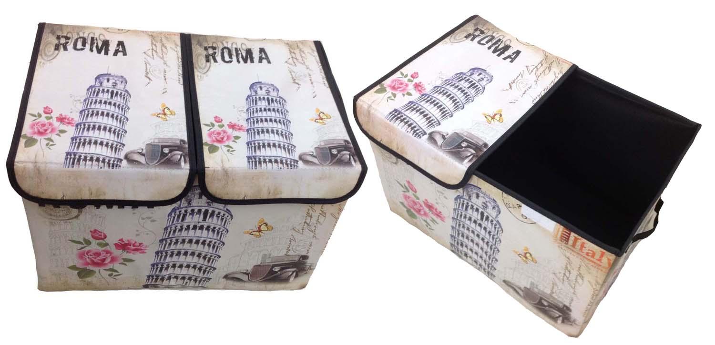 Aufbewahrungsbox mit Deckel gepolstert Roma Rom  Kiste Organizer