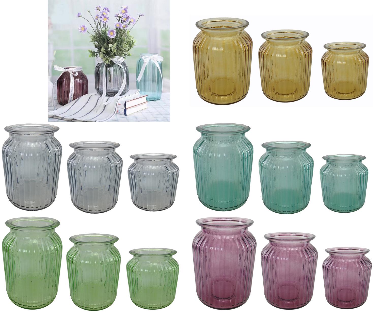 Dekovase glasvase vintage vase glas 3 er set 18 14 10 cm - Glasvase vintage ...
