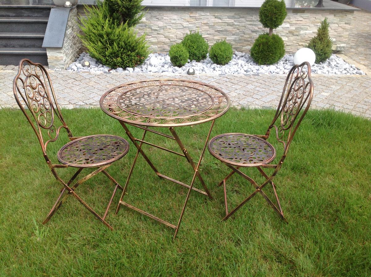 Tisch Mit 2 Stühlen Sitzgruppe Tischgruppe Eisen Metall