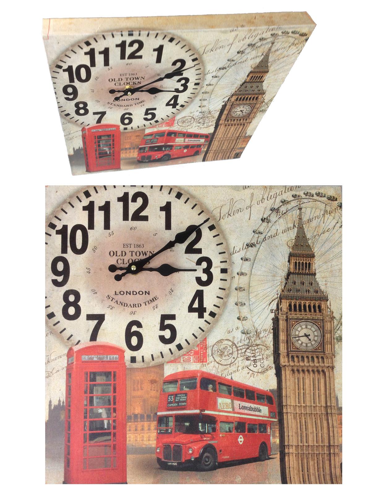 wanduhr holzuhr 40 x 40 cm hoch k chenuhr modern london nostalgie design xxl ebay. Black Bedroom Furniture Sets. Home Design Ideas
