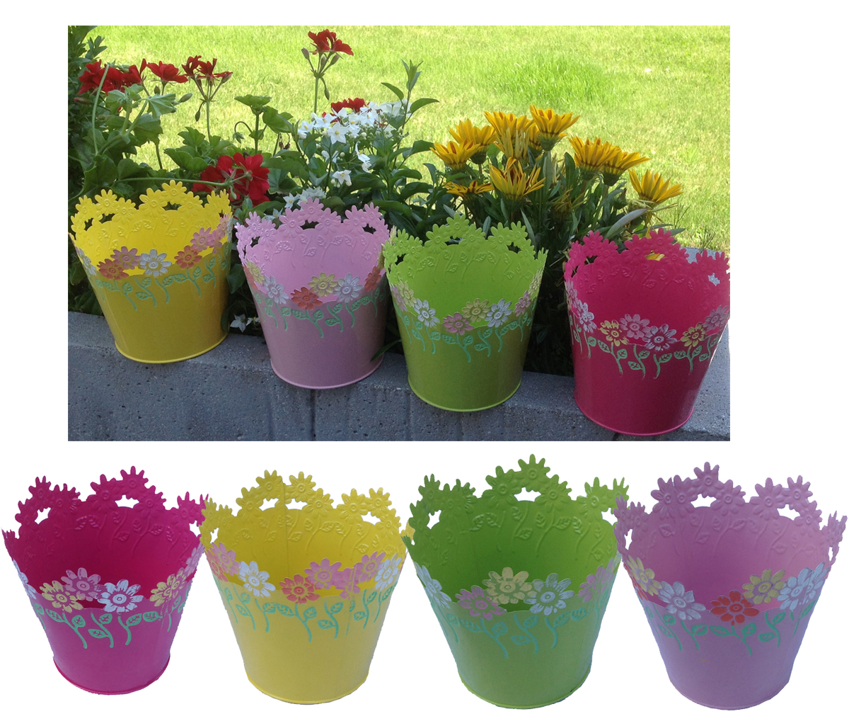 Details Sur 4 Il Set Pot De Fleurs Suspendus Zinc Pots Blumenubertopf Multicolore