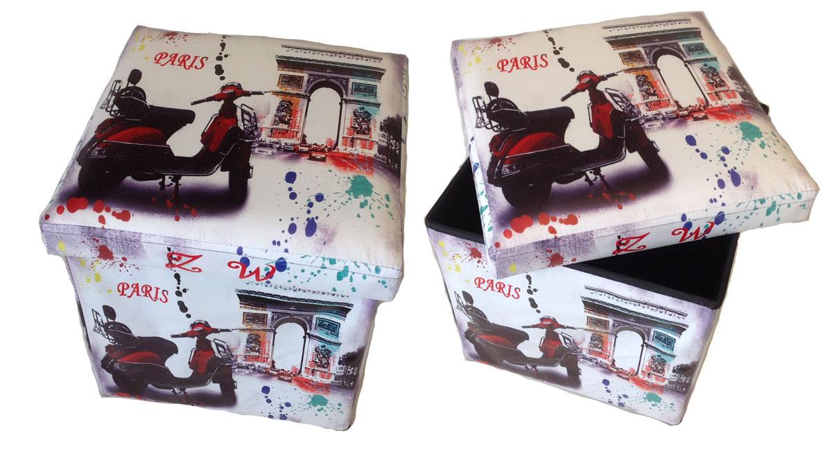 Hocker Sitzhocker Aufbewahrungsbox Sitzwürfel Fußbank Sitzbank Bogen Paris